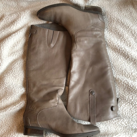 grey real leather boots